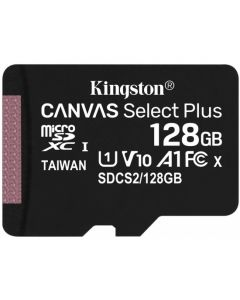 Memoria micro sd 128gb clase 10  100mb/s Full HD SD XC c/ adap. SD Kingston Canvas select plus - en blister cerrado